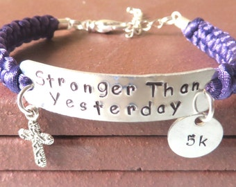 Stronger Than Yesterday Religious Christianity Cross 5k 10k 13.1 26.2 RUN Charm Bracelet You Choose Your Running Charm and Cord Color(s)