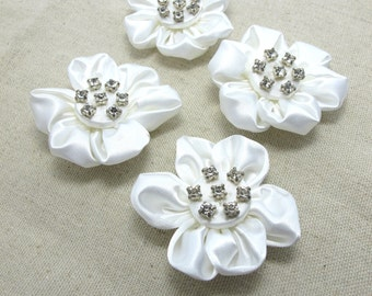 6 Pieces 2 Inches Satin Button with Rhinestone Flower White Flower Bridal Flower Fabric Flower Applique Flower Material Baby Doll Carnation