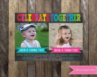 boy girl joint party joint birthday party invitation