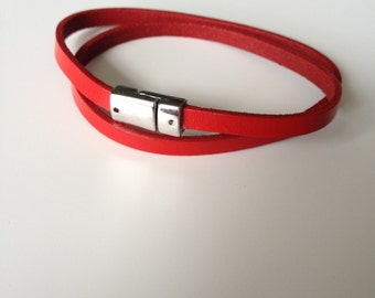 Infinity Red Leather Bracelet - Double Red Leather Bracelet - Thin Leather Bracelet - Red Leather - Red Bracelet - Magnet Clasp