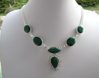 Emerald Crystal Silver Chain Necklace
