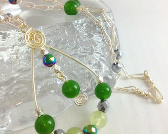 Silver Jade And Prehnite Necklace, Jade Necklace, Jade Pendant Necklace, Jade Pendant, Wire Wrapped Pendant Necklace, Pendant UK