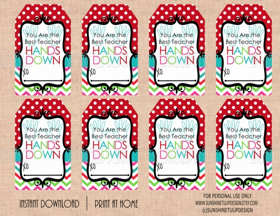 Printable teacher appreciation soap gift tags printable best printable teacher appreciation soap gift tags printable best teacher hands down gift tags by sunshinetulipdesign negle Images