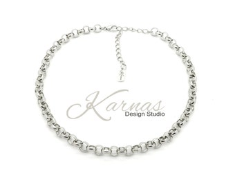CHAIN ACCENT NECKLACE 8mm Rolo Necklace *Rhodium Silver *Karnas Design Studio *Free Shipping*