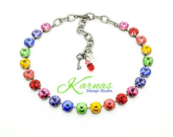 RAINBOW EFFECT 12mm Crystal Rivoli Choker Made With Swarovski Crystal *Pick Your Finish *Karnas Design Studio *Free Shipping