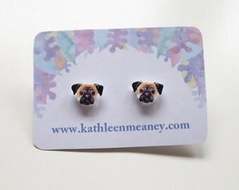 Pug stud animal earrings