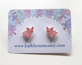 Pig stud animal earrings