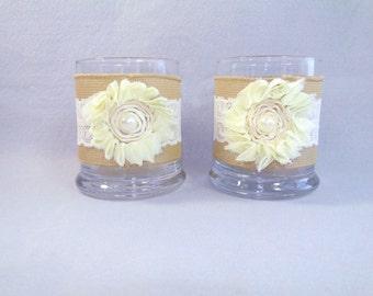 Burlap Candle Holders Decor Set of 2 Wedding Vase Wedding Candle Rustic Small Vase Glass Ivory Candle Holder Table Centerpiece Lace Votive