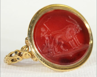 Antique Victorian Carnelian Carved Intaglio Ring in 12k Gold