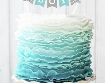 Boy Baby Shower Cake Topper - Its a Boy Cake Topper - Baby Shower Cake Decorations - Baby Shower Cake Bunting (EB3083P) CAKE Banner ONLY