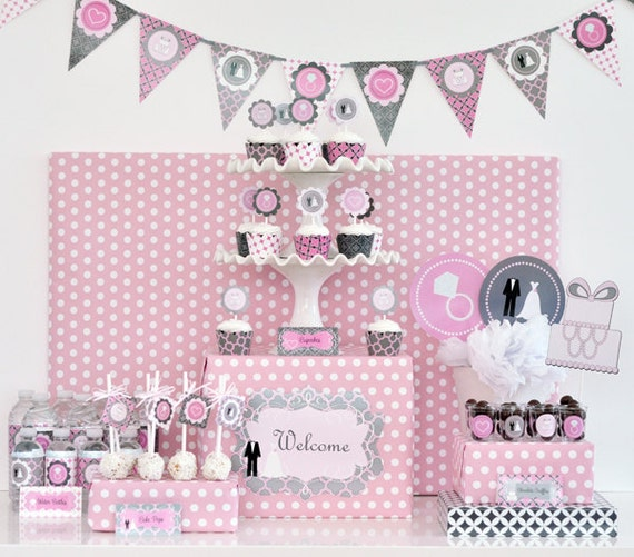 Items similar to pink and grey bridal shower decor pink for Baby shower decoration kit
