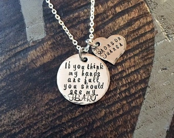 Mom Necklace Mothers Day Gift Full Heart Necklace New Mom Gift Handstamped Necklace Personalized Jewelry Quote Necklace Grandma Necklace