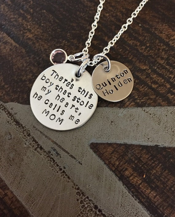 Mom Necklace There this boy who stole my heart Handstamped Necklace Personalize Jewelry Mothers Day Gift Valentines Day Gift Custom Necklace