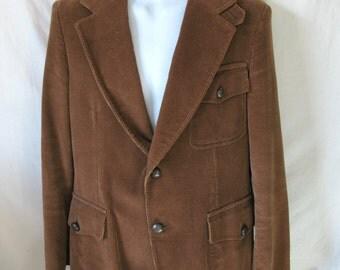 Vintage 70s Monsieur Lauro Brown Corduroy Blazer Jacket Made in Poland R-44