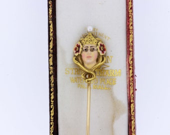 Crowned Princess Stick Pin with Enamel and Pearl