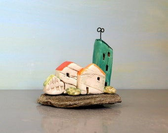 Little houses , ceramic houses on natural stone , beach art , dolls and houses