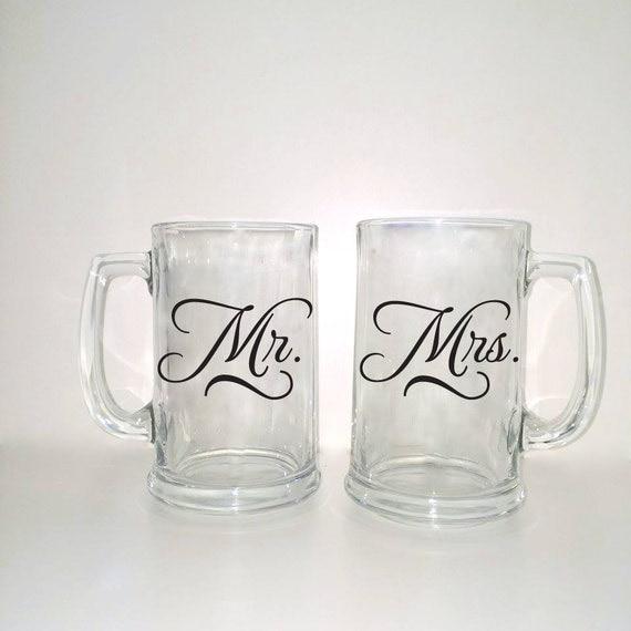 Customized Wedding Beer Glasses : Mugs, Custom Wedding Glasses, Custom Beer Glass, Personalized Wedding ...
