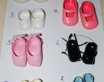 Vintage Plastic Doll Shoes - Choose One - Ballet, Pink, Black, Blue White