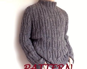 Men sweater Cable knit pullover knitting pattern PDF pattern Instant Download Pattern available in ENGLISH