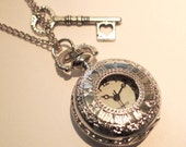 Alice in Wonderland Pocket Watch Necklace Vintage SILVER Clock Jewellery Key Heart Charm Mad Hatters Kitsch Gift Present Long Necklace