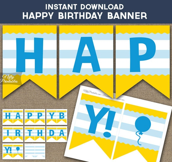 Birthday Banner Printable Happy Birthday Banner Cute Blue