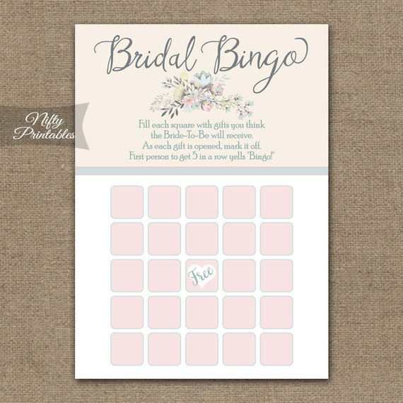 Bridal Shower Games Pass The Bouquet : Bridal shower bingo game floral bouquet