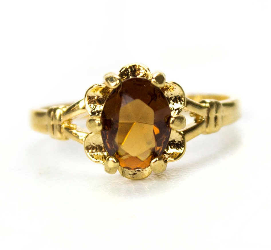 vintage 1970s smoky topaz solitaire ring gold by