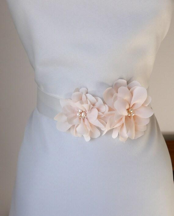 Pink Wedding Dress Sash : Pale blush pink flower bridal sash wedding gown