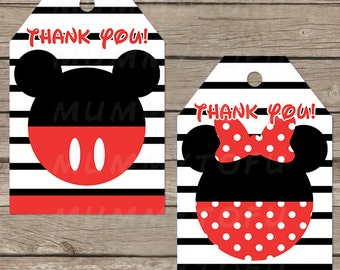 Mickey Minnie Mouse Birthday Party Thank You Favor Tags - DIY Party Printable Instant Download