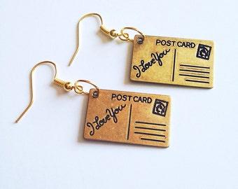 SALE I Love You Postcard Charm Earrings, Charm Earrings, Dangle Earrings, Postcard Earrings, Pendant Earrings, Brass, Cute, Whimsy