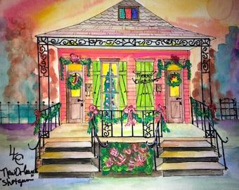 New Orleans Double Shotgun House Christmas 1