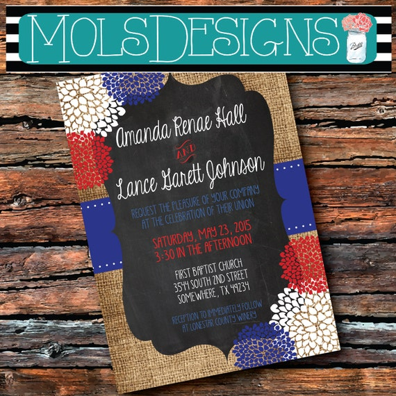Red White Blue Floral Burlap Invitation