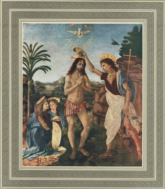 "Large 1950's Christian print of Tempera painting by Verrocchio in 15th century, ""The Baptism of Christ"", decorative gilt and grey border"