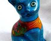 """Blue Mexican Ceramic Cat -Folk Art Handpainted 7"""" Blue Cat by Roberto Lazaro- 80s Vinage Collectible Kitsch Home Decor Kids Room Animal"""