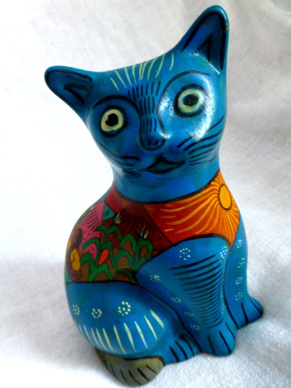 Blue Mexican Ceramic Cat Folk Art Handpainted 7 Blue