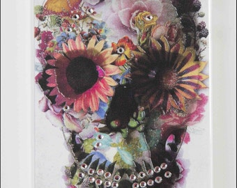 iPhone 6 Case -  Skull & Flowers  Hard Back Case Skin Cover for iPhone 6 With or Without the Diamonds!