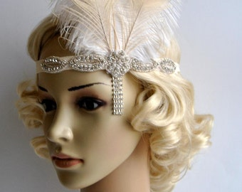 Ivory Peacock 1920s headpiece,rhinestone flapper headband Headpiece, The Great Gatsby, rhinestones headband, rhinestone feather headpiece