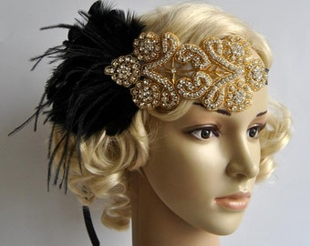 Gold black feather flapper Gatsby Headband, Wedding HCrystal Headband, Wedding Headpiece, Halo Bridal Headpiece, 1920s Flapper headband