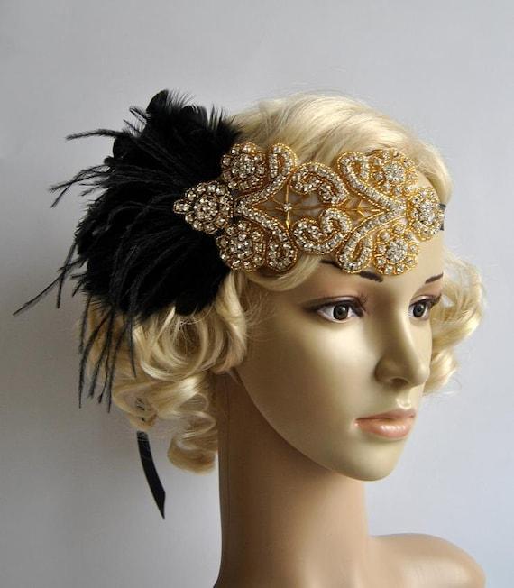 Gold black feather flapper gatsby headband wedding hcrystal headband