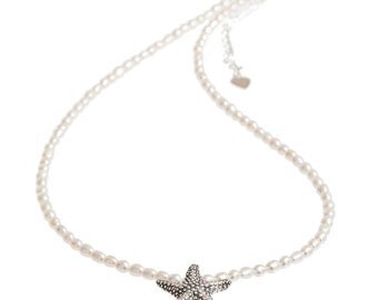 Starfish Necklace   Pearl Necklace with Starfish   Silver Starfish   Freshwater Pearl Necklace