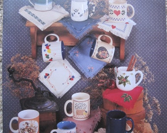 Cross Stitch Book - Mug Mats - by Country Cross Stitch #55 - Vintage 1989