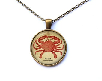 Nautical jewelry Red crab pendant Art necklace CWAO21