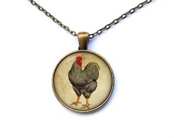 Chicken necklace Bird jewelry Animal pendant Art charm CWAO28