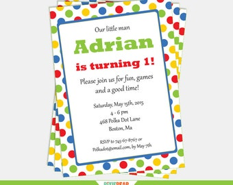 Primary Color Birthday Invitation - Polka Dot Invitation - Confetti Invitation - Polka Dot Birthday - Confetti Party (Instant Download)