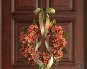 Wreath   Blended Hydrangea Wreath   Front Door Wreaths   Fall Decor   Wreaths   Hydrangea Wreath   Housewarming Gift