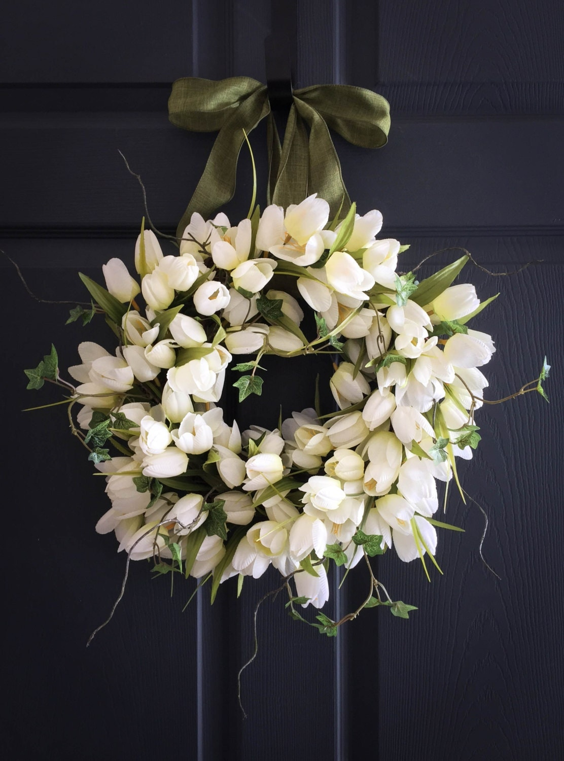 White Tulips With Ivy Wreath Spring Wreaths Front Door
