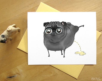 Pee Pilates Black Pug Card - Funny Peeing Dog Pug Card by InkPug!