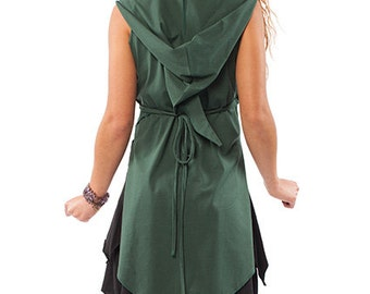 GREEN PIXIE WRAP, organic cotton wrap top, pixie top, xxl psy trance clothing, pixie clothing, green pixie hood top, plus size wrap dress