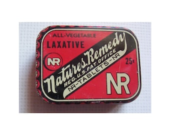 Nature's Remedy All Vegetable Laxative Metal Tin . 1940's Antique Medicine Tin. Excellent Condition