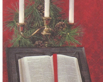 Bible and Candles Vintage Christmas Card Unused Hallmark Slim Jim